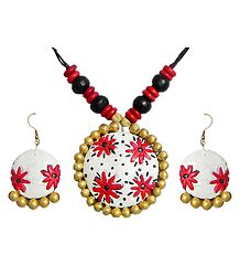Wooden Bead Necklace with Hand Painted Red Flower on White Terracotta Pendant and Earrings