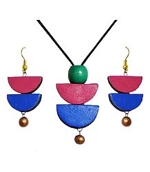 Black Cord Necklace with Hand Painted Terracotta Pendant and Earrings