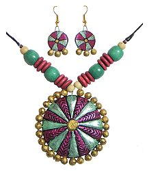Wooden Bead Necklace with Hand Painted Disc Shaped Terracotta Pendant and Earrings
