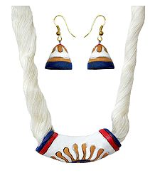 Hand Painted Terracotta Necklace and Earrings