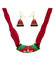 Red Terracotta Necklace and Earrings