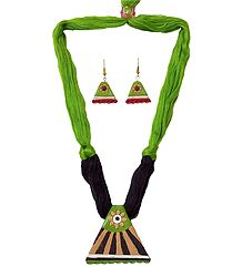 Buy Terracotta Triangular Pendant & Earrings