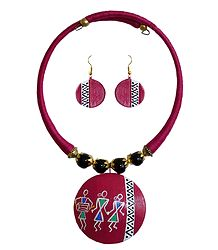 Pink Thread Spring Necklace with Terracotta Pendant and Earrings