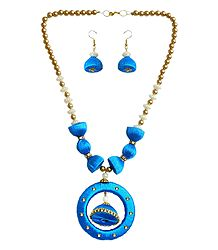 Bead and Cyan Thread Necklace with Earrings