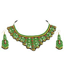 Green with Black and Yellow Macrame Thread Necklace and Earrings with Red and White Beads