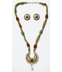 Red, Green and White Stone Studded Necklace with Earrings
