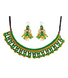 Green with Yellow Macrame Thread Necklace and Earrings with Red and Black Beads