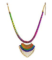 Metal and Thread Necklace Set