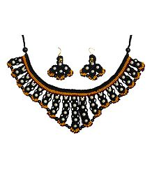 Macrame Thread Necklace and Earrings