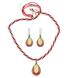 Red and White Thread Necklace with Earrings