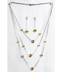Chrome Yellow Crystal Bead Three Layer Necklace