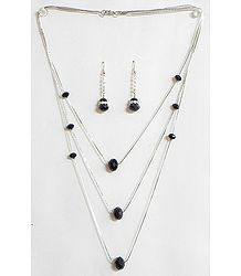Black Crystal Bead Three Layer Necklace