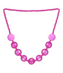 Magenta Acrylic Bead Tibetan Necklace