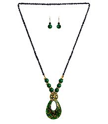 Black with Green Beaded Tibetan Necklace and Earrings