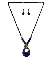 Black with Purple Beaded Tibetan Necklace and Earrings
