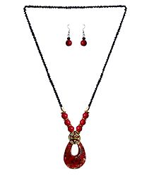 Black with Red Beaded Tibetan Necklace and Earrings