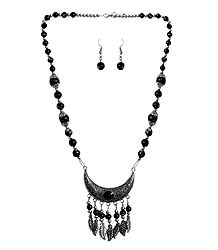 Black with Silver Beaded Tibetan Necklace and Earrings