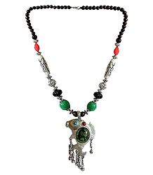 Tibetan Metal Necklace with Fish Pendant