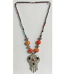 Tibetan Necklace with Metal Heart Pendant with Jhalar
