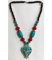 Red and Cyan Bison Face Tibetan Necklace