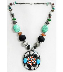 Multicolor Stone Bead Tibetan Necklace with White Metal Pendant