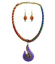 Multicolor Threaded Tibetan Necklace with Stone Pendant and Earrings