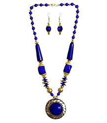 Yellow with Golden Bead Tibetan Necklace with Earrings