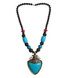 Cyan with Brown Bead Tibetan Necklace