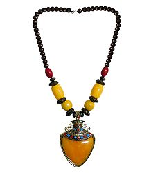Yellow with Brown Bead Tibetan Necklace