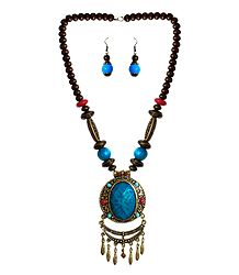 Blue with Brown Bead Tibetan Necklace and Earrings