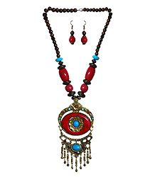 Red with Brown Bead Tibetan Necklace and Earrings