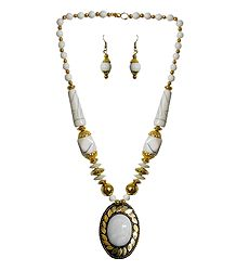 White with Golden Bead Tibetan Necklace and Earrings
