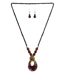 Black with Brown Beaded Tibetan Necklace and Earrings
