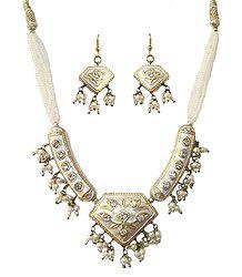 Black Bead Necklace with Meenakari Pendant & Earrings