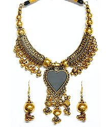 Oxidised Metal Golden Necklace with Heart Pendant and Earrings