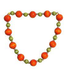 Dark Saffron and Light Green Wooden Bead Necklace