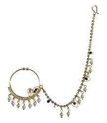 White Stone Studded and Gold Plated Nose Ring with Chain