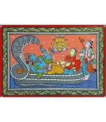 Vishnu in Anantashayan - Paata Painting on Canvas
