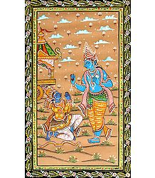 Arjuna Lays Down His Arms as Krishna Extolls Him to Fight the War - Orissa Patachitra
