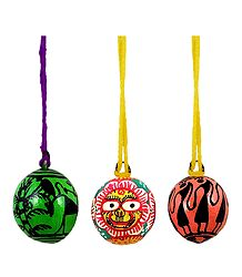 Set of 3 Hand Painted Hanging Betel Nut