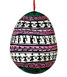 Tribal Painting on a Hanging Coconut