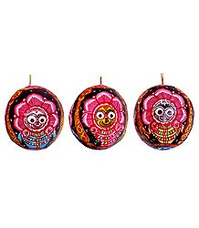 Jagannath Painting on 3 Sides of a Hanging Coconut