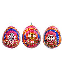 Jagannathdev Painting on 3 Sides of a Hanging Coconut
