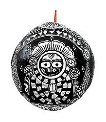 Jagannath,Balaram, Subhadra - Pata Painting on 3 Sides of a Hanging Coconut