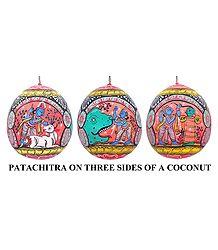 Krishna Leela Painting on Coconut Shell