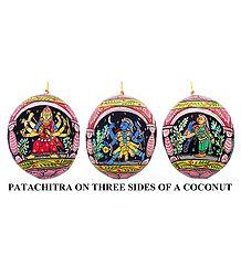 Durga, Kali & Meenakshi - Pata Painting on Three Sides of Hanging Coconut