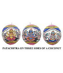 Brahma, Vishnu & Shiva - Pata Painting on Three Sides of Hanging Coconut