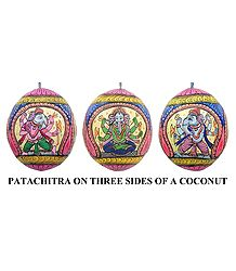 Lord Ganesha - Pata Painting on Three Sides of Hanging Coconut