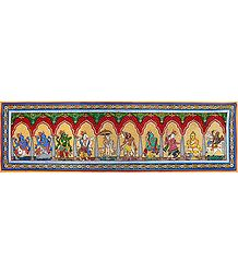 Dashavatara - Pata Painting on Tussar Silk