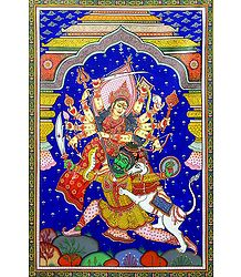 Devi Durga - Paata Painting on Tussar